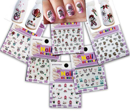 2 86 12pcs Colorful Nail Art Stickers Cute Mustaches Hat Stripe Dot Pattern Decoration 105 108 Bornpretty