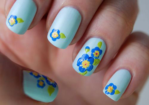 Pastel Flower Nail Design For Long Nails