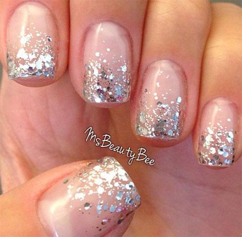 12 Gel French Tip Glitter Nail Art Designs