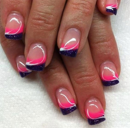White Gel Nails With Black And Pink Stripes Acrylic Nail Tip Design Ideas