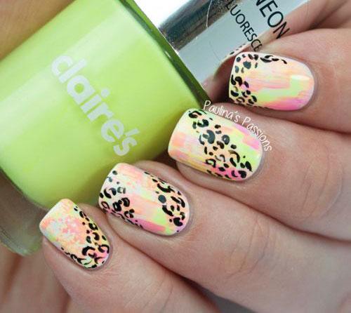 Glittery Summer Nail Art Design