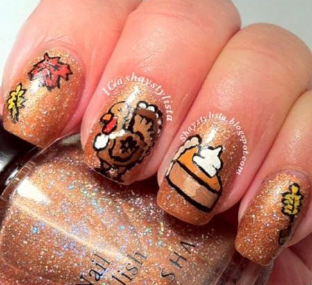Cute Easy Thanksgiving Nail Art Designs Ideas 2016