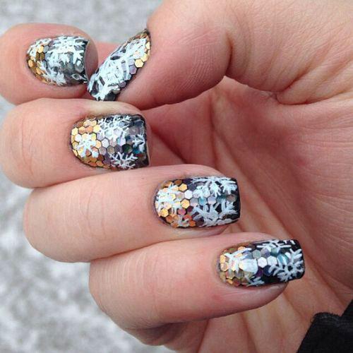 White Glitter Nail Design
