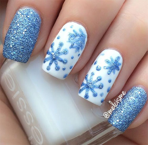 15 Winter Snowflakes Nail Art Designs Ideas 2017