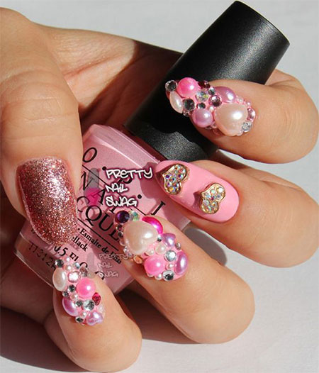 15 Cute 3d Valentines Day Nail Art Designs