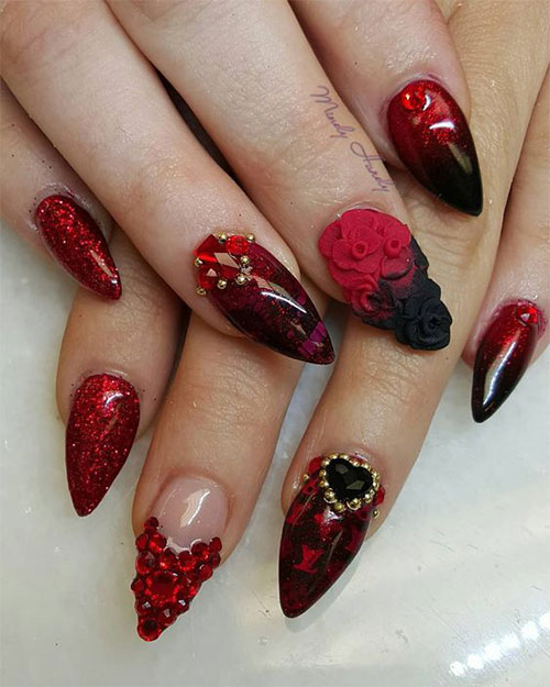 15 Valentines Day Acrylic Nail Art Designs Ideas