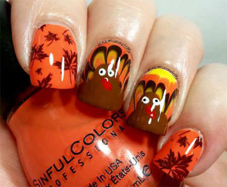 12 Turkey Nail Art Designs Ideas 2017 Thanksgiving