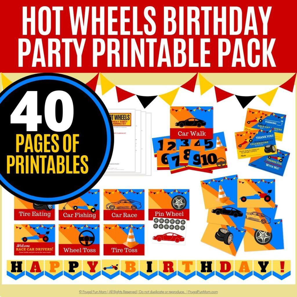 Hot Wheels Birthday Party Printable Pack | Frugal Fun Mom