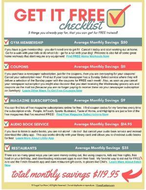 Get It Free Checklist | Frugal Fun Mom