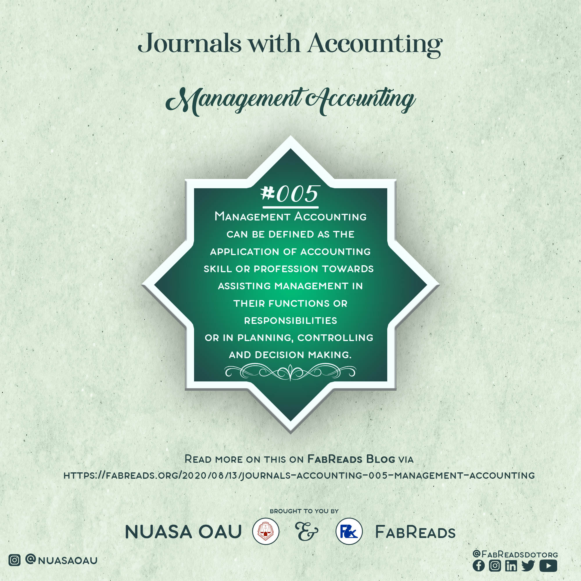 Journals with Accounting 005 – Management Accounting