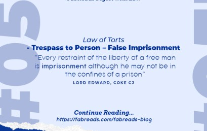 FabReads Digest with Law 053 – Trespass to Person (False imprisonment)