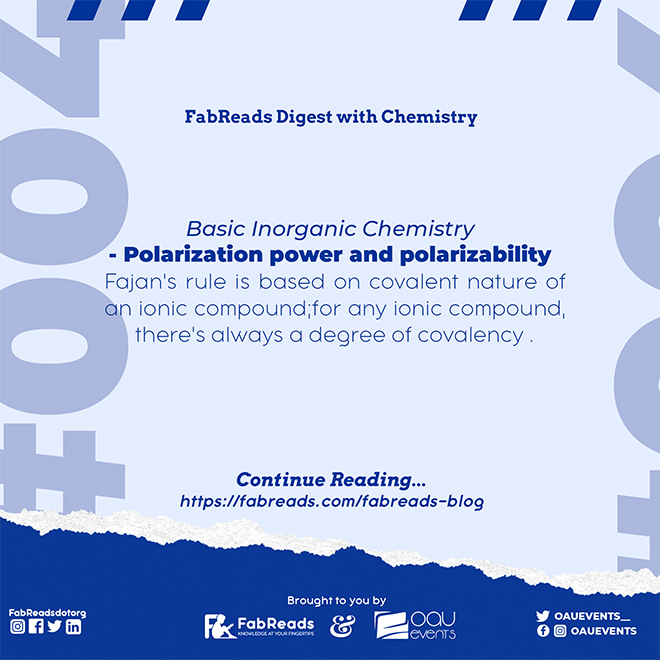 FabReads Digest with Chemistry – 004 (Polarization Power and Polarizability)