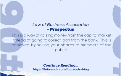 FabReads Digest with Law 060 – Prospectus (Law of Business Association)