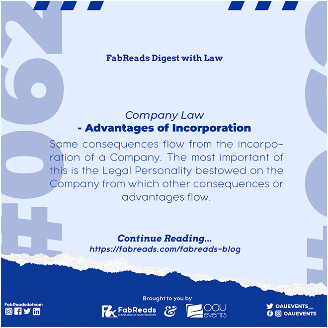 FabReads Digest with Law 062 – Advantages of Incorporation (Company Law)