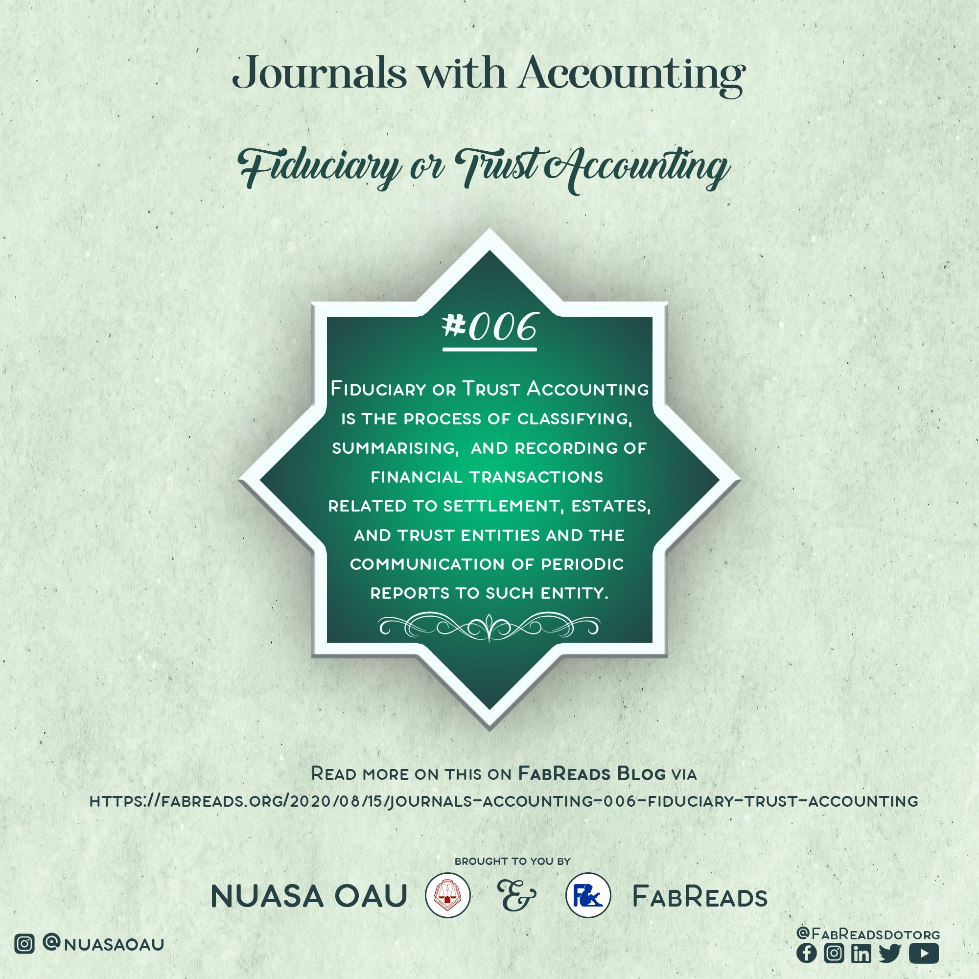 Journals with Accounting 006 – Fiduciary or Trust Accounting