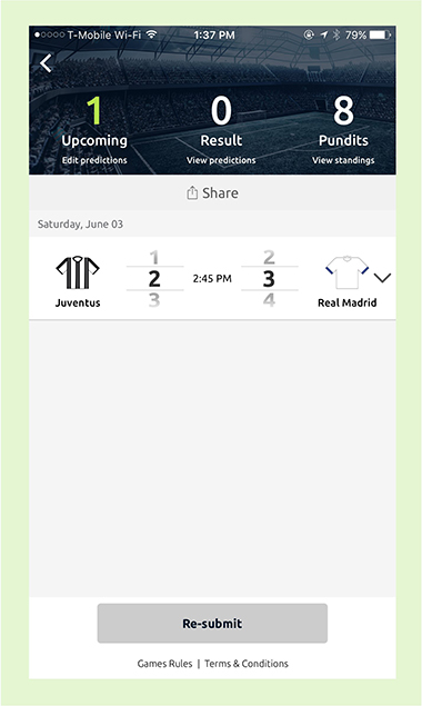 Pundit Club app making a prediciton