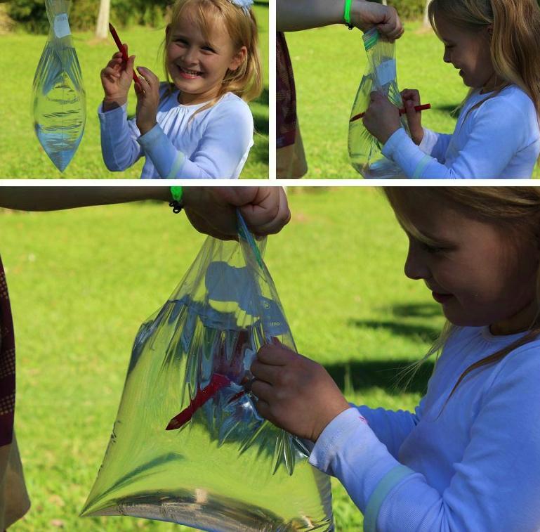 Experiment cu punga de plastic - fetita care inteapa punga cu creioane ascutite