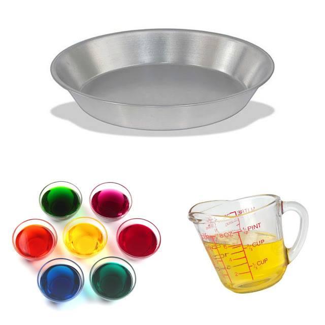 experiment bol de metal, colorant alimentar si ulei