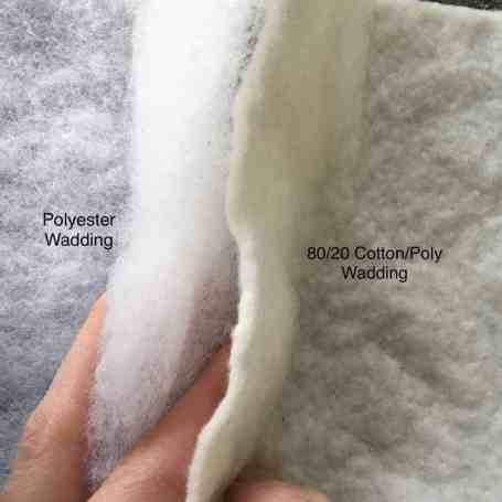 Comparing the different thicknesses (Loft) of polyester and cotton/poly wadding