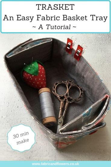 Tutorial for an easy fabric basket tray - a trasket! - by fabricandflowers