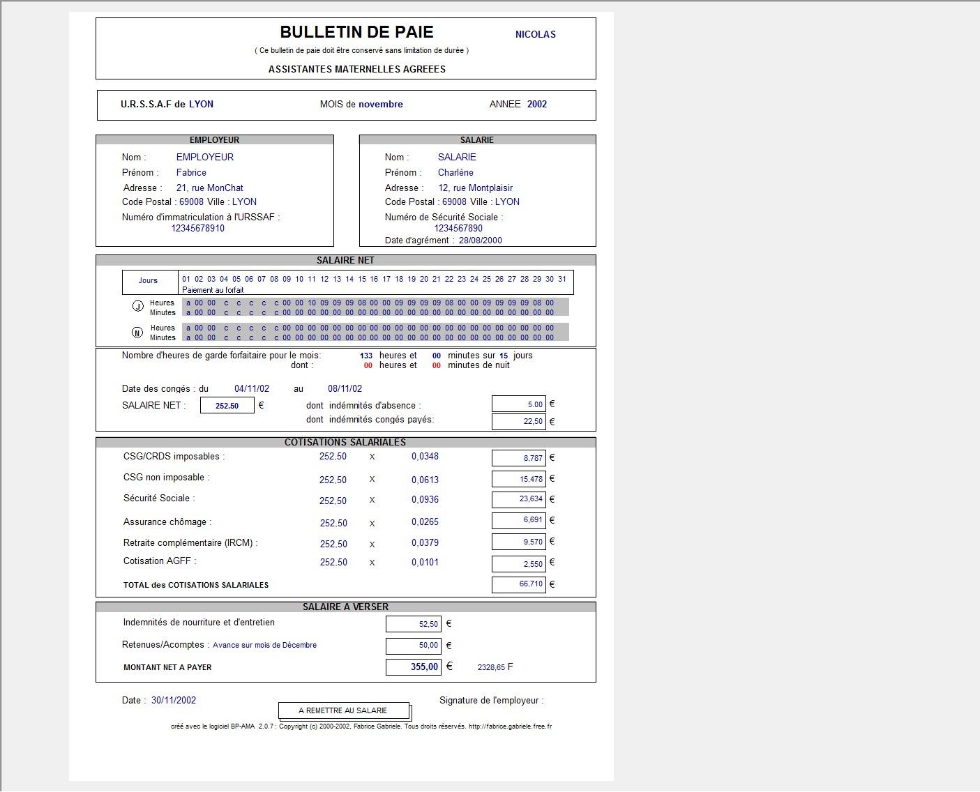 Bulletin De Salaire Assistant Maternelle Excel Gratuit
