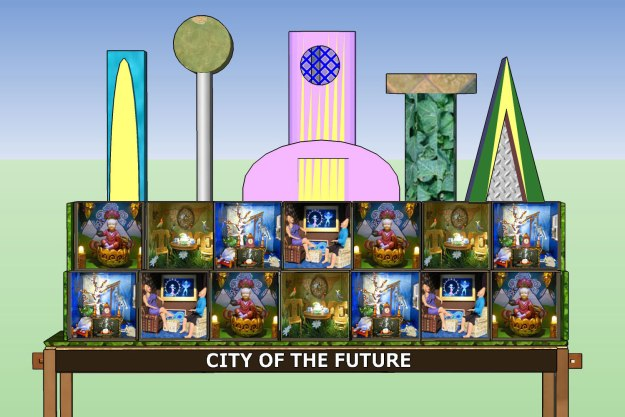 The City of the Future will include a row of 'wonderbox' homes in the foreground, and a city landscape in the background. It will be about 6 feet wide, 3 feet deep and up to 4 feet high, and be placed on a rolling 'maker art cart.'