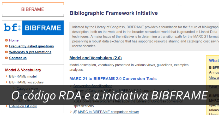 O código RDA e a iniciativa BIBFRAME