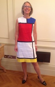Kate Davies in copy of YSL Mondrian dress