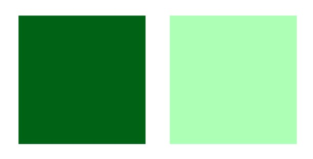 Two shades of green, one dark and one light