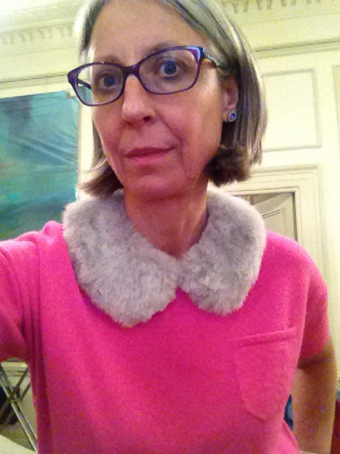 Tilly Buttons collar in grey fun fur