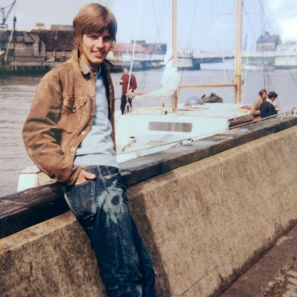 Man wearing bleached jeans, 1970s