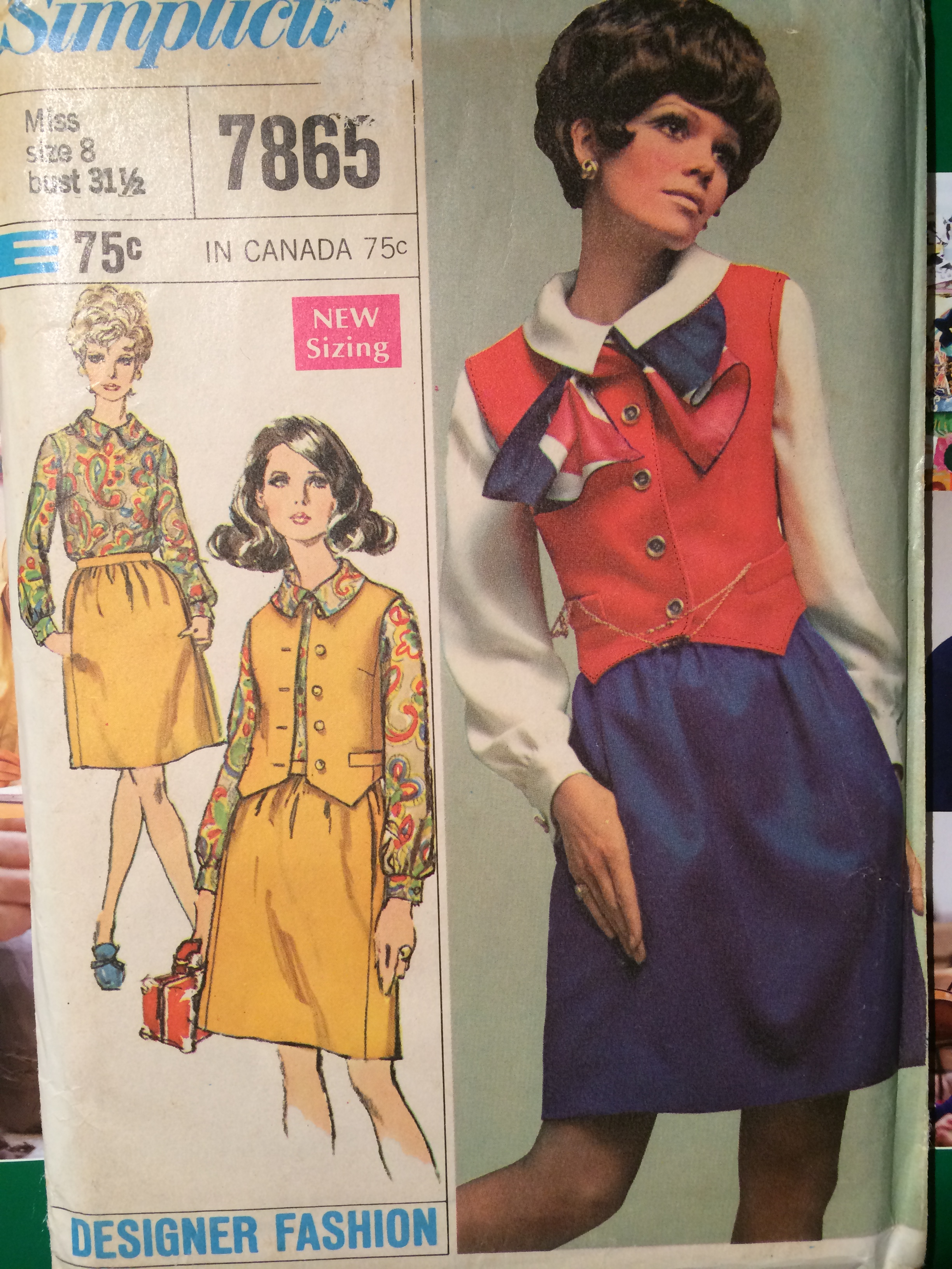 1968, Simplicity 7865, Designer Fashion