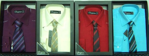Four shirt and tie sets