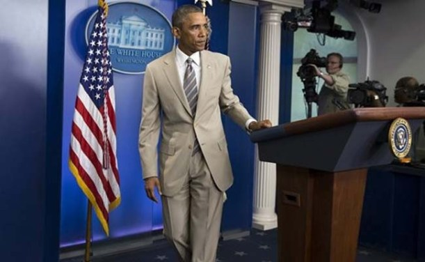 President Obama is a beige suit