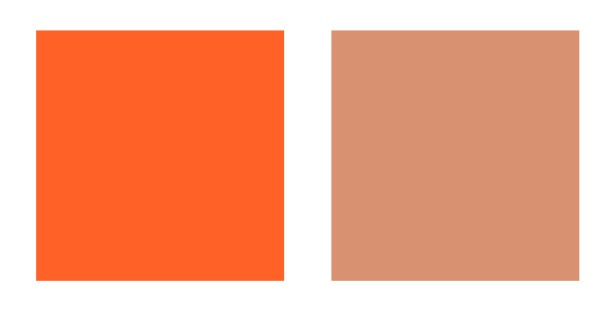 Bright and Muted orange colour palette