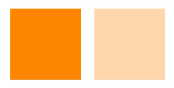 Deep and Light orange palette