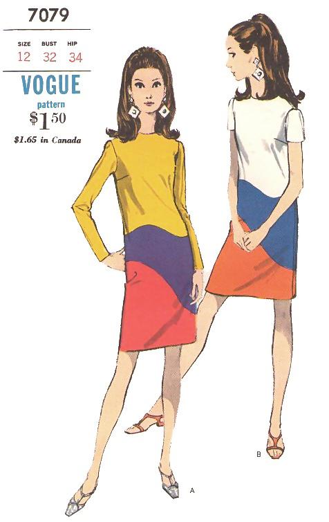 Vogue 7079 two 1970s colour blocked dresses