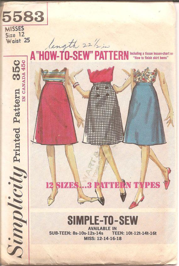 Vintage A line skirt pattern