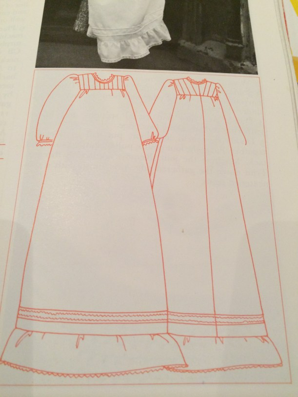 Technical drawing of Ann Ladbury 1970s Christening gown
