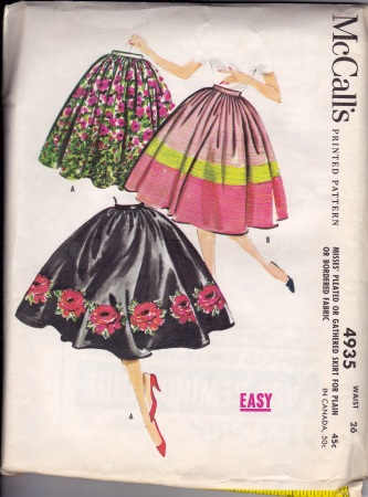 Vintage gathered skirt pattern
