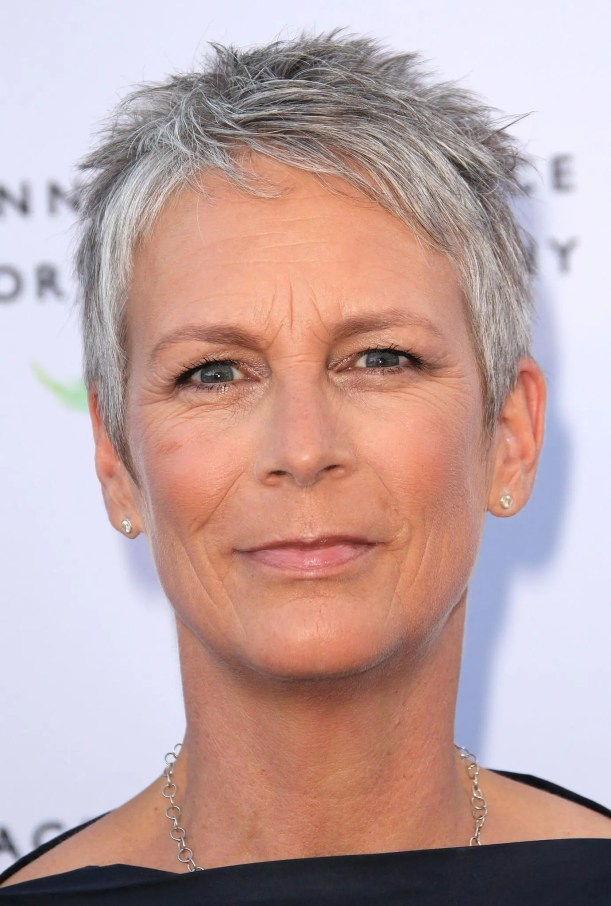 Jamie Lee Curtis with short grey hair