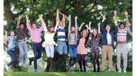 six young people jumping in the air