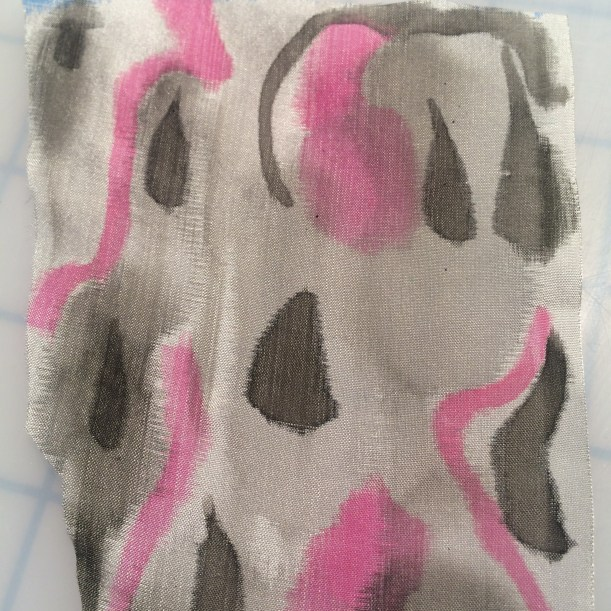 silk painted in pink and grey