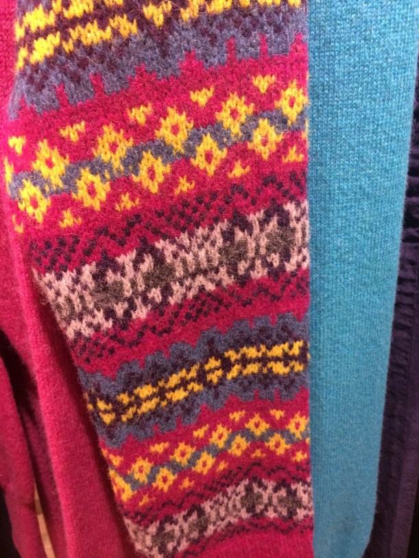pink, yellow and turquoise jumper