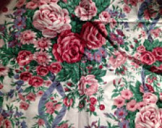 French chintz furnishing fabric in pink, white and green