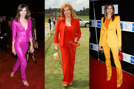 pink, red and yellow pant suits
