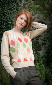 beige green and orange argyll sweater