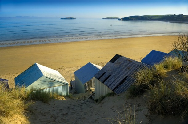 the beach, with huts, Abersoch, Wales