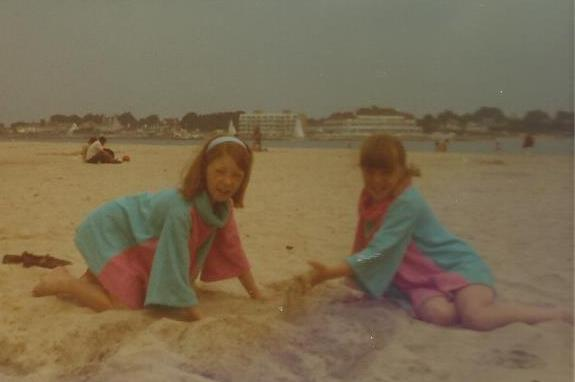 Ch on beach with sister