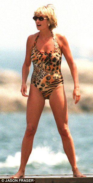 PRincess Di in halter neck swimsuit